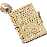 Vintage Holy Bible Charm Articulated/ Moving Four Pages, The Lords Prayer, 14k Solid Gold