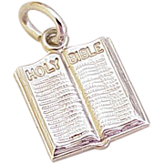 Vintage Holy Bible Charm Sterling Silver Circa 1980's