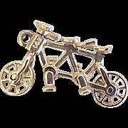 Vintage Moving Tandem Bicycle Charm 14K Gold Three Dimensional circa 1950's