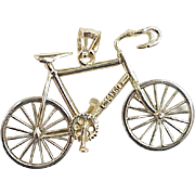 Vintage BIKE / Bicycle Moving Pendant 14k Two-Tone Gold circa 1970-80's