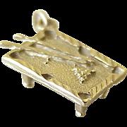 Vintage Billiard / Pool Table Charm 14K Gold Three Dimensional