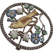 Vintage Aesthetic Bird Brooch Sterling Silver Shaded Enameling & Marcasite