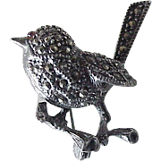Small Bird Vintage Pin Sterling Silver, Marcasite & Garnet