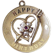 Jeweled Vintage Birthday Charm 14K Gold Circa 1950-60's