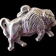 Vintage Bison / Buffalo Charm, Three Dimensional Sterling Silver