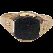 Vintage Bloodstone / Heliotrope Ring 10K Gold circa 1930-40's