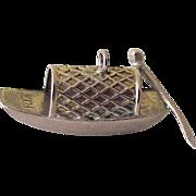 Vintage Japanese Fishing Boat Charm 14k Gold Three Dimensional Circa 1950's