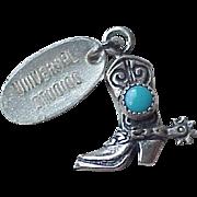 Cowboy Boot Vintage Charm Three-Dimensional Sterling Silver Circa 1960's