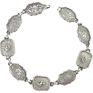 Art Deco Diamond & Rock Crystal Bracelet 14K White Gold Filigree