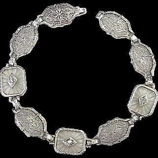 Art Deco Diamond & Rock Crystal Bracelet 14K White Gold Filigree