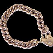 Vintage Bracelet English 9k Rose Gold, Victorian Revival w/ Heart Lock