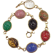 Egyptian Revival Scarab Bracelet 14k Gold Colorful Carved Stone Circa 1920's