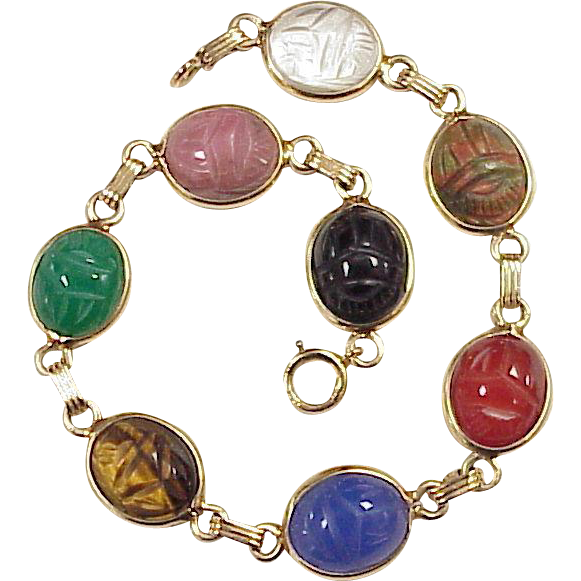 Egyptian Revival Scarab Bracelet 14k Gold Colorful Carved Stone Circa A Charmed Life Ruby Lane