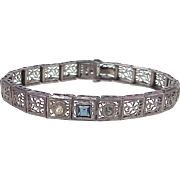 Art Deco Filigree Bracelet Sterling Silver, Faux Sapphire & Diamond Accent