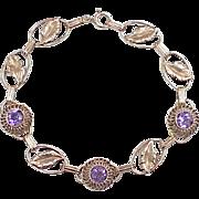 Vintage Bracelet circa 1940's Amethyst & 14K Gold