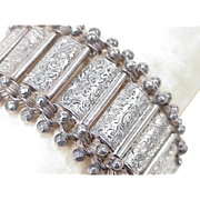 Edwardian Wide Book Link Bracelet Sterling Silver