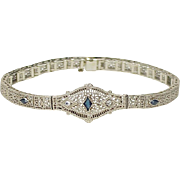1920's Art Deco Diamond & Sapphire Filigree Bracelet 14K White Gold