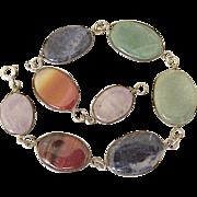 Colorful Gemstone Bracelet Sterling Silver circa 1960's