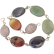 Colorful Gemstone Bracelet Sterling Silver circa 1960's
