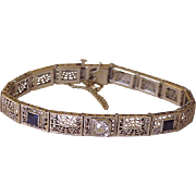 Art Deco Filigree Bracelet 1.62 tgw Diamond & Sapphire 14K White Gold circa 1920-30's