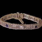Art Deco Filigree Bracelet 1.62 tgw Diamond & Sapphire 14K White Gold circa 1920-30's