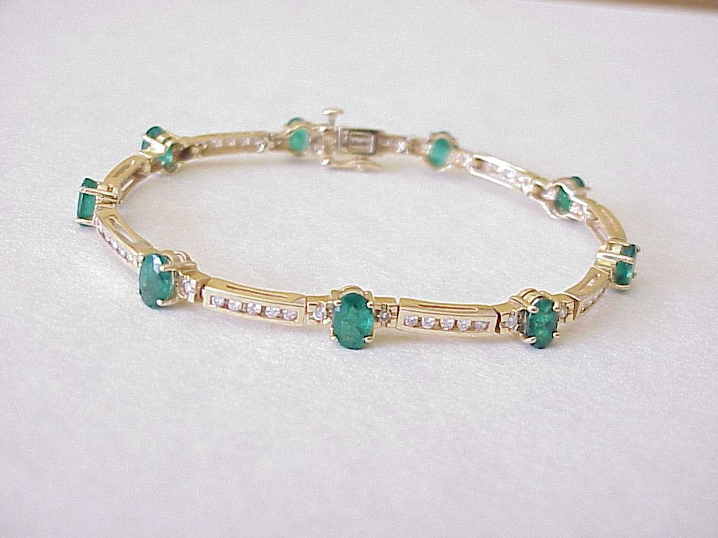 natural emerald diamond bracelet carats 14k golf from acharmedlife on ruby lane. Black Bedroom Furniture Sets. Home Design Ideas