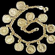Vintage Miniature Gold Coin (Copy) Charm(s) Bracelet 14K Gold