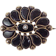 Victorian Small Mourning Brooch 10k Rose Gold, Jet & Seed Pearl