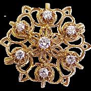 Victorian Revival Diamond Brooch  1.05 Carat Total 14K Gold