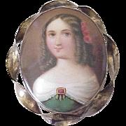 Victorian Miniature Portrait Brooch Hand Painted