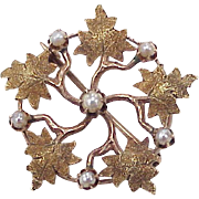 Edwardian Brooch 10K Rose & Green Gold With Seed Pearl Accent