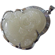 Laughing Buddha Carved Jade Pendant Sterling Silver circa 1960's