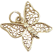 Vintage Butterfly Charm 14k Gold Filigree Design circa 1970's