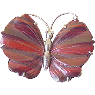 Gorgeous Butterfly Brooch Banded Agate Wings, Sterling Silver