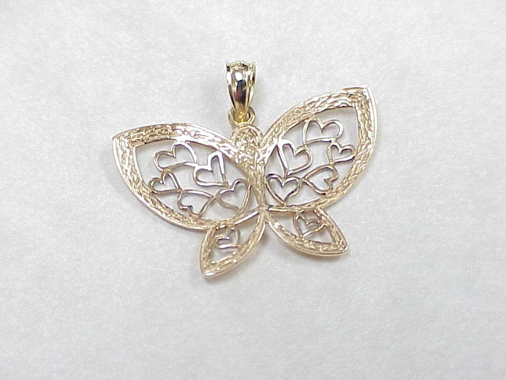 estate 14k gold butterfly charm filigree detail circa