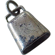 Cowbell Moving Vintage Charm Three-Dimensional Sterling Silver circa 1950's