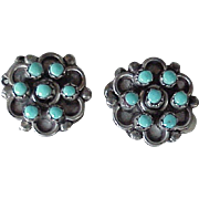 Vintage Native American Crafted Clip Back Earrings Sterling Silver & Turquoise