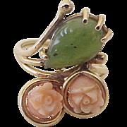 Carved Coral & Jade Vintage Ring 14K Gold circa 1960's