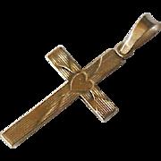 Small Cross Pendant Heart Accent 14K Gold