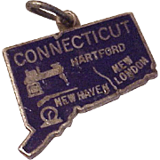 Enameled Connecticut US State Vintage Charm Sterling Silver Circa 1960's