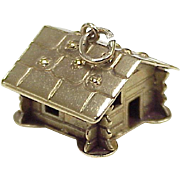 Vintage Log Cabin / Cottage Charm 9k Gold European Three Dimensional Circa 1950's