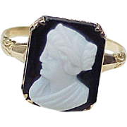 Edwardian Agate Cameo Ring 10K Gold
