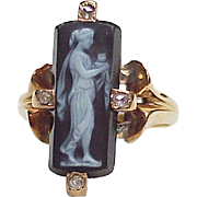 Victorian Cameo Ring 18K Rose Gold Diamond Accent