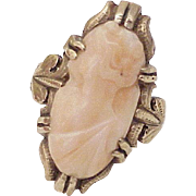 Victorian Era Angel Skin Coral Cameo Ring 10k Rose Gold