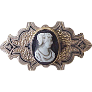 Victorian Agate Cameo Brooch Gold Filled