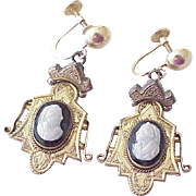 Victorian Hard Stone Cameo Earrings 14K & Gold Filled
