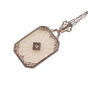 Edwardian Camphor Glass Pendant / Necklace Sterling Silver