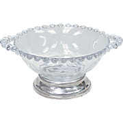 Imperial Candlewick Cut Glass Sterling Silver Footed Bowl With Handles