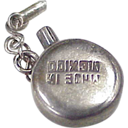 Vintage Moving Canteen Charm, Sterling Silver, Mexico