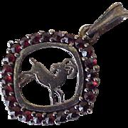 Vintage Bohemian Garnet Zodiac Capricorn Pendant 900 Silver CZECH